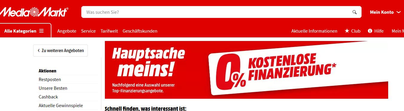 0 Prozent Finanzierung bei Mediamarkt Screenshot