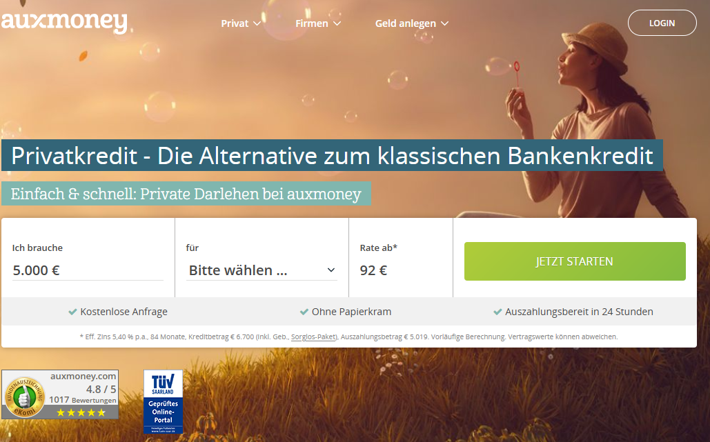 Auxmoney Screenshot der Webseite vom September 2020