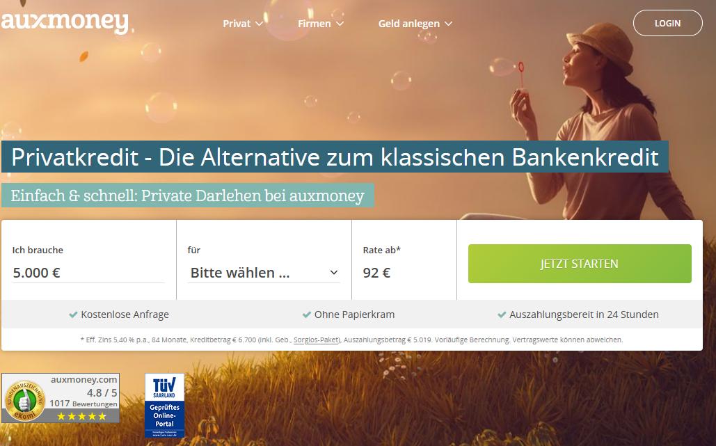 Auxmoney Screenshot der Webseite vom September 2020