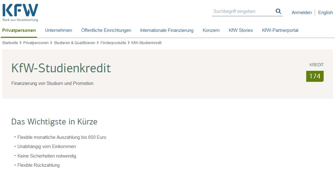 Screenshot vom KfW Studentenkredit im September 2020