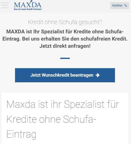 Screenshot der Maxda Webseite
