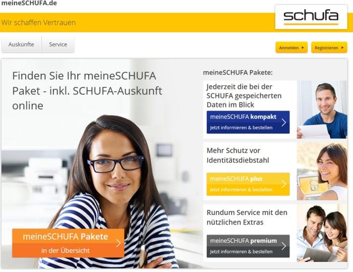 Screenshot der Seite meineschufa.de