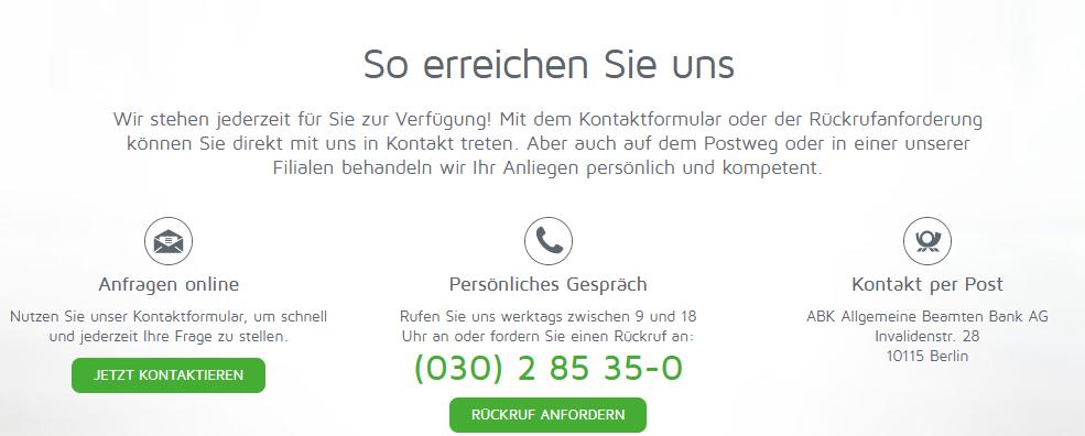 Kontaktdaten der Allgemeine Beamten Bank