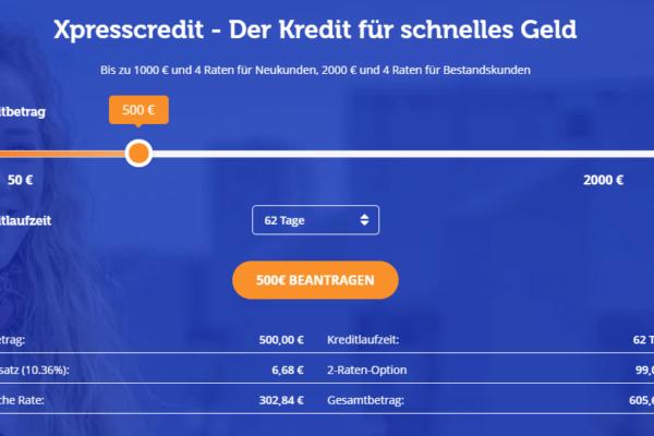 Screenshot von Ferratum Xpresscredit Webseite