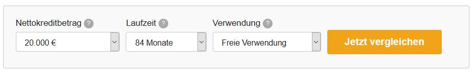 Screenshot Kreditrechner für Beamte