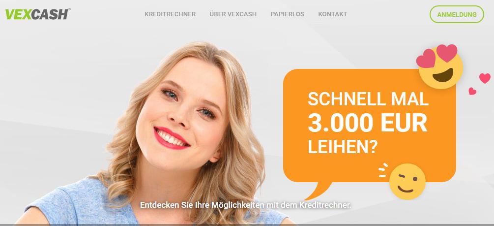 Screenshot Vexcash Titelseite