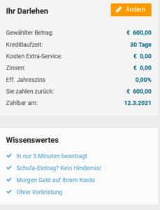 Kostenloser Minikredit von Cashper