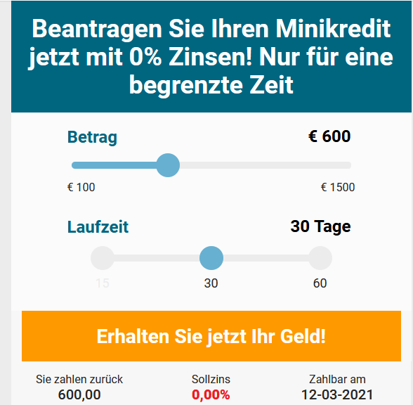 Kostenlos Geld leihen: Cashper Minikredit bis 600,- Euro aktuell ohne Zinsen